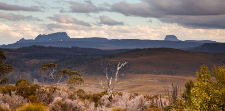 Cradle Mountain and Barn Bluff in the evening light.