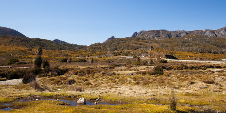 The summit of Cradle Mountain is just visible in the center of the picture
