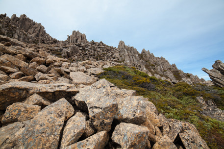 The steep and rocky summit track