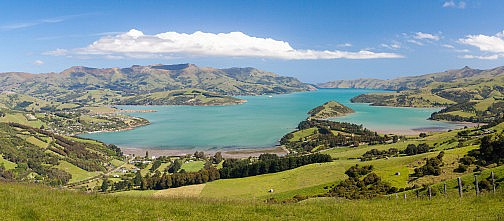 Akaroa Bay amidst the green hills of Banks Peninsular